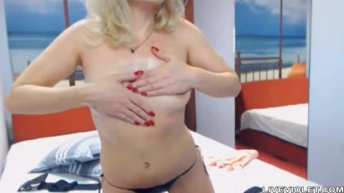 Exciting blonde cougar SENADA pounds pussy with dildo