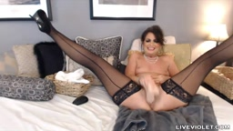 Squirting brunette MILF Mindy with sexy black lingerie