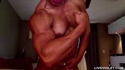 Hot hungarian muscle babe with big biceps and huge clit