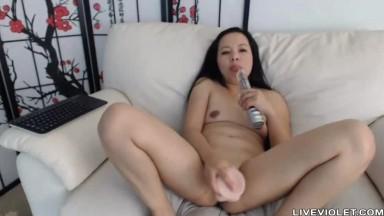 Filipino small titted MILF masturbates a tight vagina