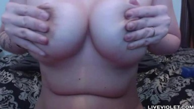 Charming flexible brunette MILF Natalie with big nipples