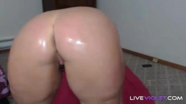 Naughty wet candy dream girl masturbates huge oiled butt
