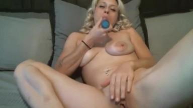 Drunk horny blonde Stacy with tiny tits fucks pussy hard