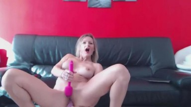 French busty mademoiselle with high heels pounds her ass