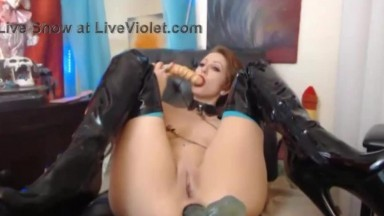 Anal nympho Foxy Moxie with a huge dildo gapes her butt