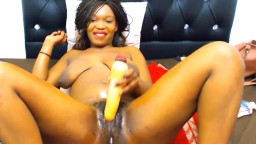 Naughty black teen Nilza with hairy pussy and oiled body