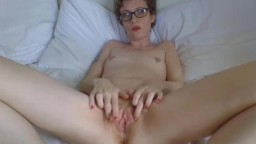 Skinny petite ginger candy in glasses with real orgasms