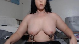 Nipple clamped obedient nymph Azlynn to make you cum