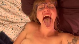 Teasing horny nympho Sadie with little tits and glasses