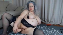 Filthy bodacious UK GILF Helen with big tits and huge toy