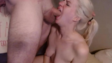 Sexy blonde Sandy gagging on a cock gets cum in her pussy