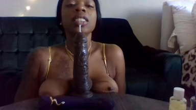 Ebony whore best at deepthroat while spits on saggy tits