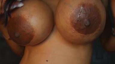 Dirty mommy Gloria Lamour plays black fake fucking titties