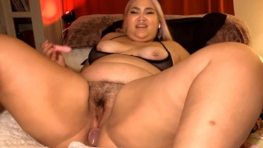 Thick Asian beauty Mami banging and squirting a bushy cunt