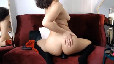 Aussie exchange student Kaia stretches out her tight pussy