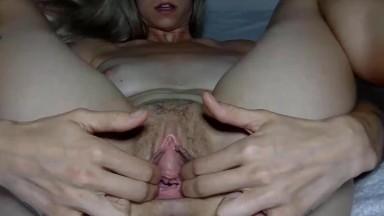 Fucking hot athletic babe Jade gaping a hairy juicy vagina