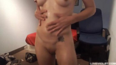 Sexy busty blond mom Roxy pounds her oiled old pussy