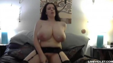 Natural 36G lovely brunette Lilith fucks her stunning pussy for real